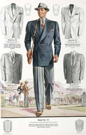 1930s Men's Double Breasted Blue suit jacket over grey pants.. See more at VintageDancer.com