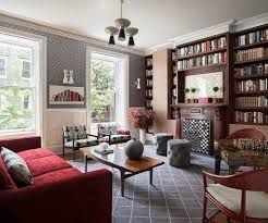 living room decoration red shelves - Google Search
