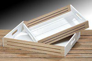 Bandeja decorativa - 2er Set con bandeja de madera bandeja de desayuno con bandeja de madera