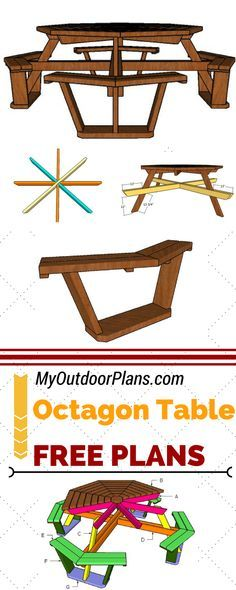 Learn how to build an octagon picnic table for your backyard, using my free set of plans. Step by step instructions, detailed diagrams and octagonal picnic table plans at MyOutdoorPlans.com #diy #picnictable