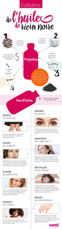 l'huile, ricin, ricin noire, utilisation, beauté, soin, peau, cheveux, santé,