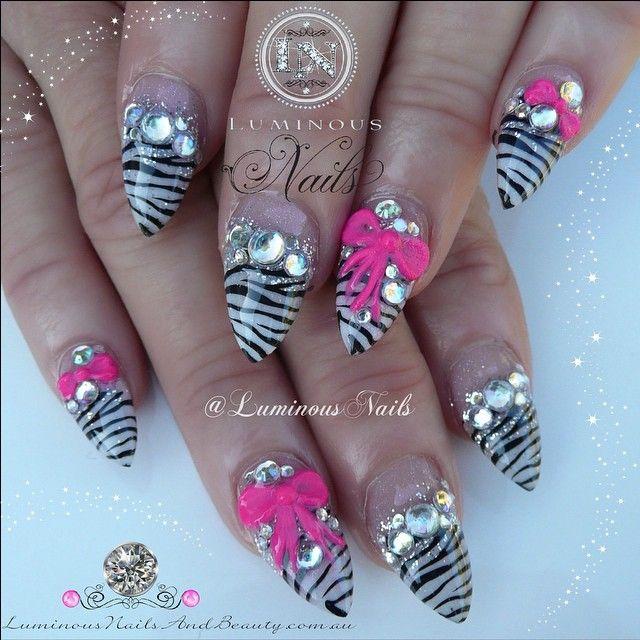 Luminous Nails Zebra Print With Pink Bows Bling