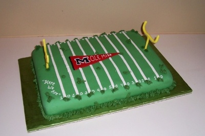 Ole Miss Football Field Cake By khoudek on CakeCentral.com