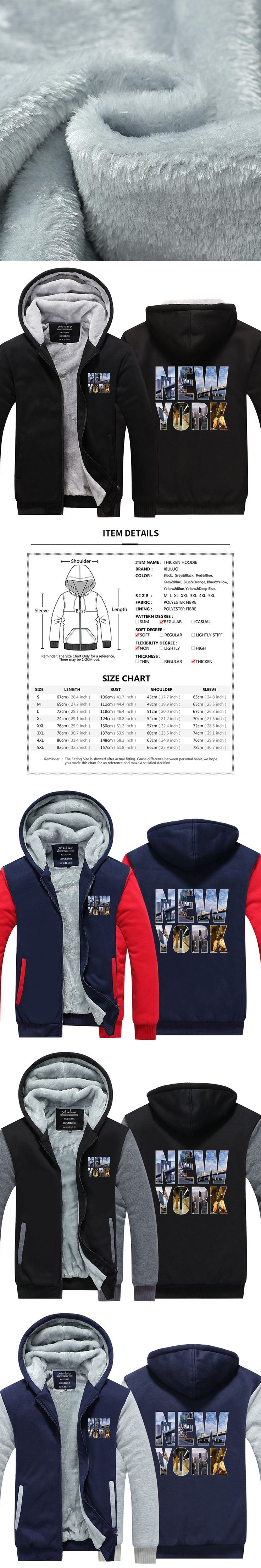New brand High Quality New York Printed Hoodies 3d casual Hoody Thicken Fleece Zip up Men Winter Tops USA EU size Plus size