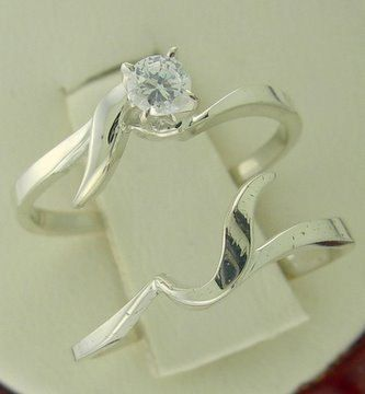 Checkout this amazing product Genuine Diamond Interlocking Engagement Ring Wedding Ring Set 10kt White Gold Sizes 3-10 at Shopintoit