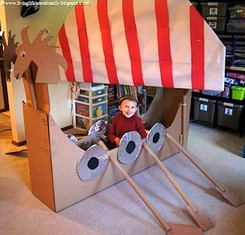 kid-size Viking ship made from a cardboard box