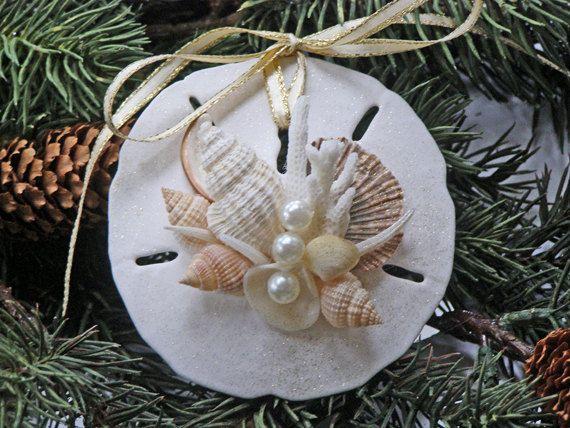 BEACH SANDOLLAR ORNAMENT Pearl and White No. 3, Christmas & wedding decor, nautical ornament, beach decor, beach Christmas, wedding favor