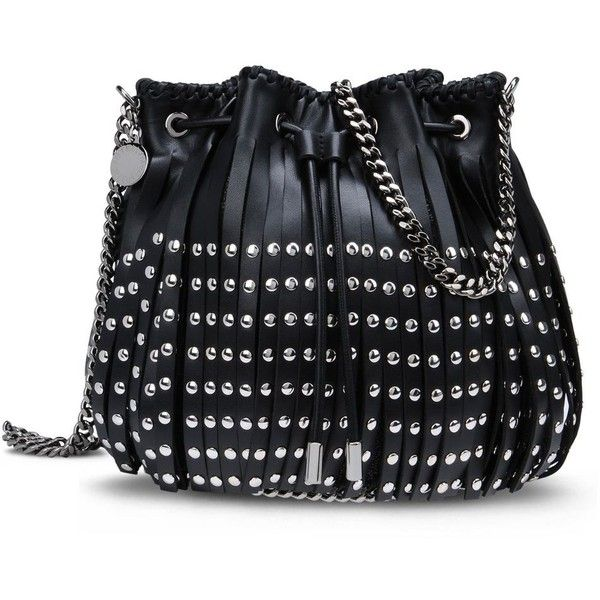 Stella McCartney Black Falabella Studded Fringed Bucket Bag (£770) ❤ liked on Polyvore featuring bags, handbags, shoulder bags, black, fringe handbags, shoulder strap bags, studded shoulder bag, strap purse and stella mccartney