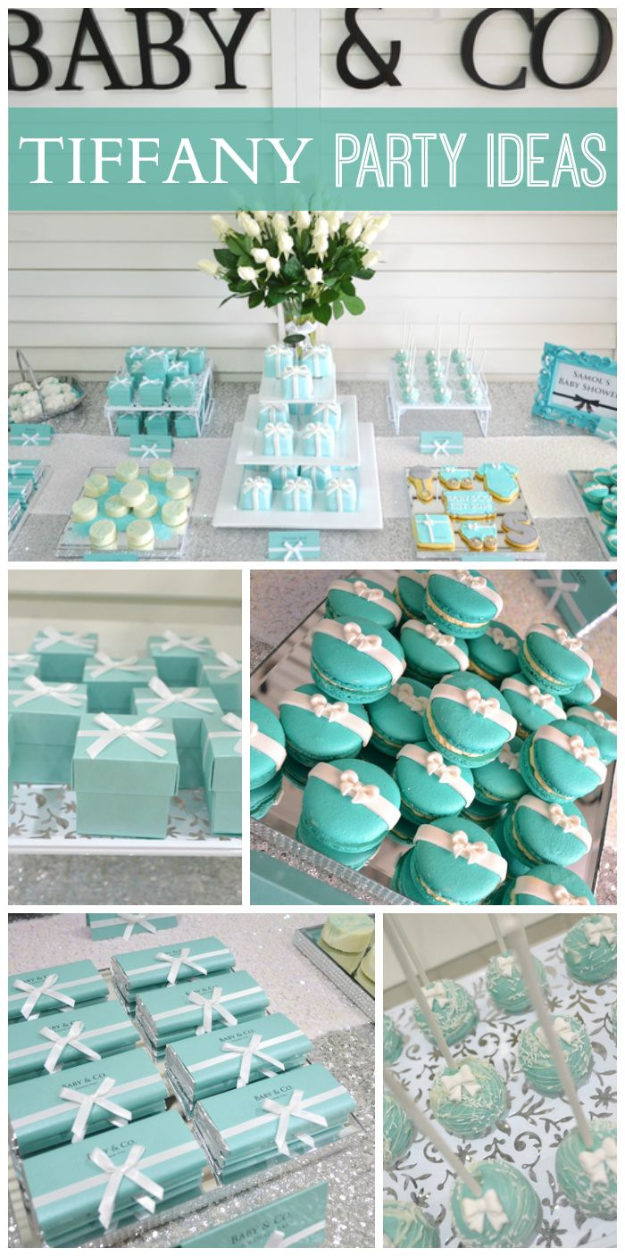 So many lovely touches at this beautiful Tiffany themed baby shower!  See more party ideas at CatchMyParty.com!