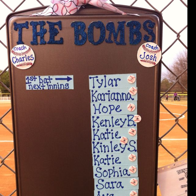 Dugout Batting Order Made with magnets on a cookie sheet. I used a metal shower hook on the top to hang it in the dug out. Can rearrange the players for each games line up!