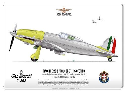 C202-prototipo    ITALIAN AIR FORCE (WW2) . REGIA AERONAUTICA    Manufacturer: Aermacchi  Model: C.202 Folgore  Serial s/n: M.M.445  c/n: Prototipo costr. AerMacchi    Comandante Guido Carestiato   10 agosto 1940. Lonate Pozzolo    E'mostrato ancora privo di verniciatura con alcune parti protette con primer al cromato di zinco, in occasione del primo volo ufficiale avvenuto il 10 agosto 1940 sul campo di Lonate Pozzolo, ai comandi del Comandante Guido Carestiato, collaudatore della…