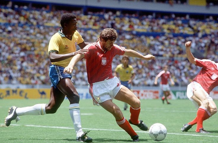 World Cup Finals, Second Phase, Guadalajara, Mexico, 16th June, 1986, Brazil 4 v Poland 0, Brazil's Josimar strongly challenges Poland's Wlodzimierz Smolarek for the ball  June 16, 1986