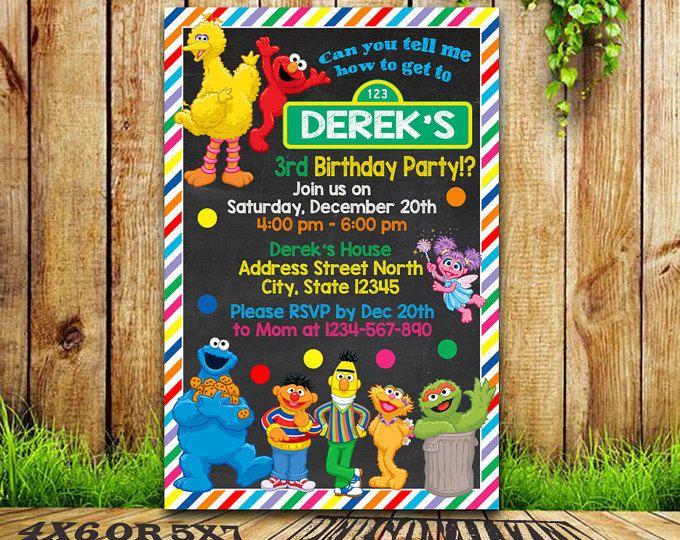 Sesame Street / invitación Plaza Sesamo / invitación de cumpleaños de calle del sésamo / partido de calle sésamo / Sesame Street imprimible / Sesame Street