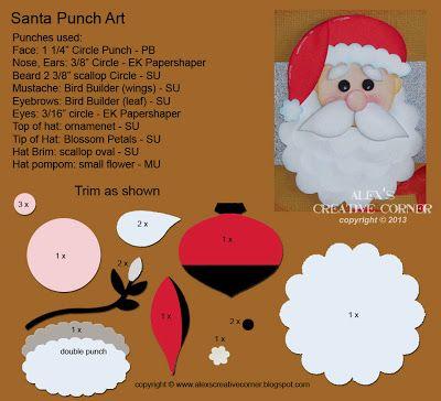 Alex's Creative Corner - Santa Punch Art Instructions