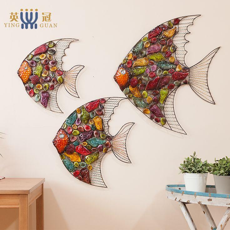 Европейский Стиль Гостиная Висячие украшения стены Украшения росписи творческий Цвет рыбы железо живопись Домашнее украшение Интимные аксессуары