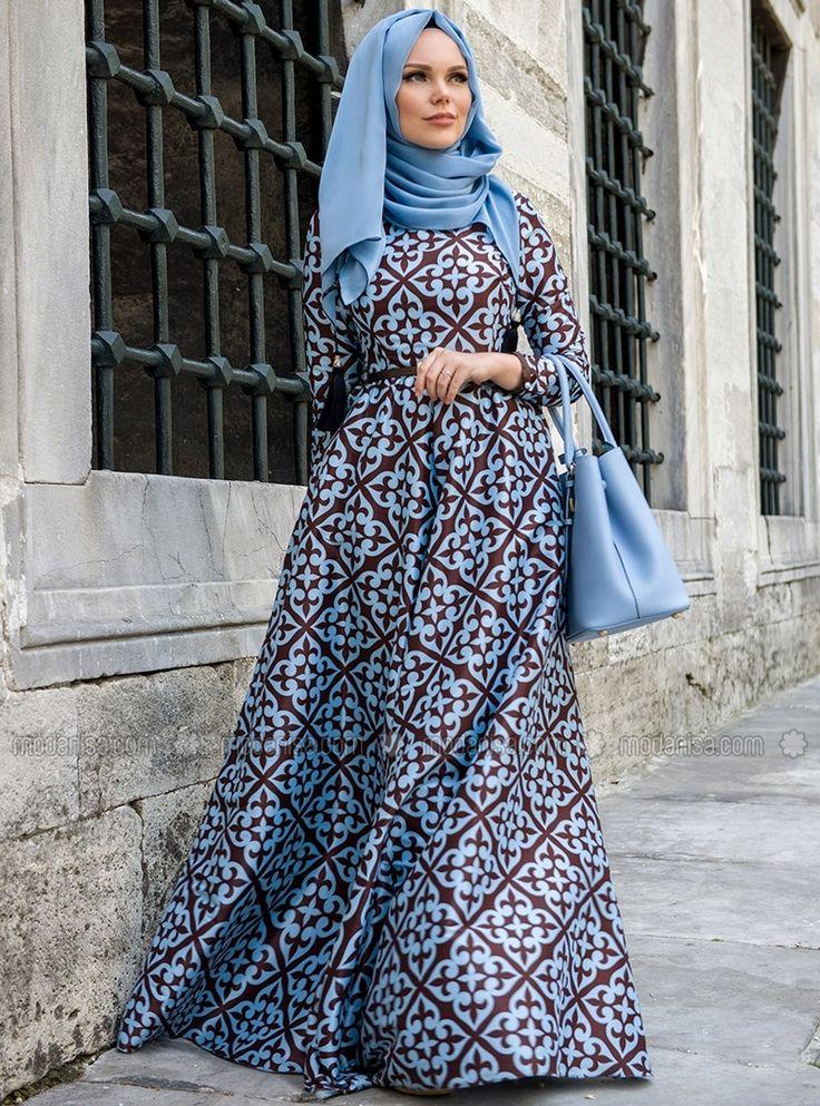 Desenli Elbise - Mavi - kahve - Muslima Wear