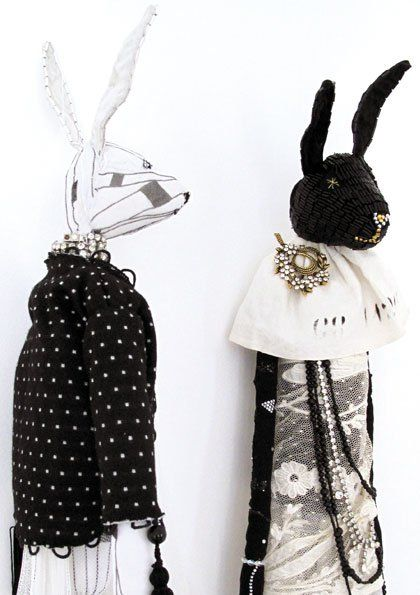 black and white hares by Alice Mary Lynch