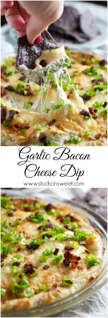 Garlic Bacon Cheese Dip. This dip is perfect for Super Bowl time or any party! Serve with tortilla chips or crackers - it's so good! | www.stuckonsweet.com