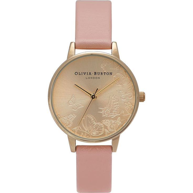 love the girly Olivia Burton Watch - Animal Motif - Multi Butterfly Dusty Pink & Gold (twistedtime.com)