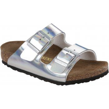 Birkenstock Kids Arizona Mirror Silver 553823, children classic two strap birkie - Birkenstock from Jelly Egg UK