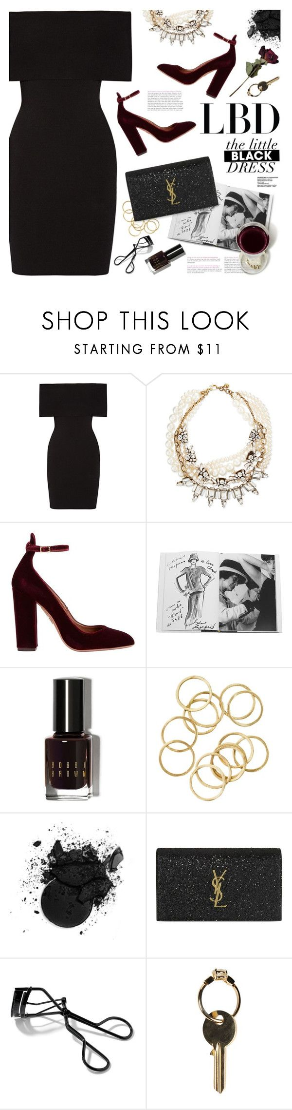 """little black dress"" by jesuisunlapin ❤ liked on Polyvore featuring Rosetta Getty, Lulu Frost, Aquazzura, Assouline Publishing, Bobbi Brown Cosmetics, Yves Saint Laurent and Maison Margiela"