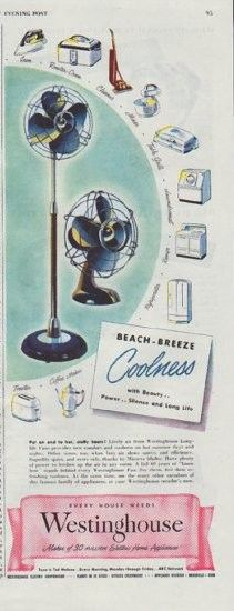 "Description: 1948 WESTINGHOUSE vintage print advertisement ""Beach-Breeze Coolness"" -- Beach-Breeze Coolness with Beauty .. Power .. Silence and Long Life ... Westinghouse Longlife Fans ... Superbly quiet, and extra safe, thanks to Micarta blades ... Ever House Needs Westinghouse -- Maker of 30 million Electric Home Appliances -- Size: The dimensions of the half-page advertisement are approximately 5.5 inches x 13.5 inches (14 cm x 34 cm). Condition: This original vintage advertisement is in…"