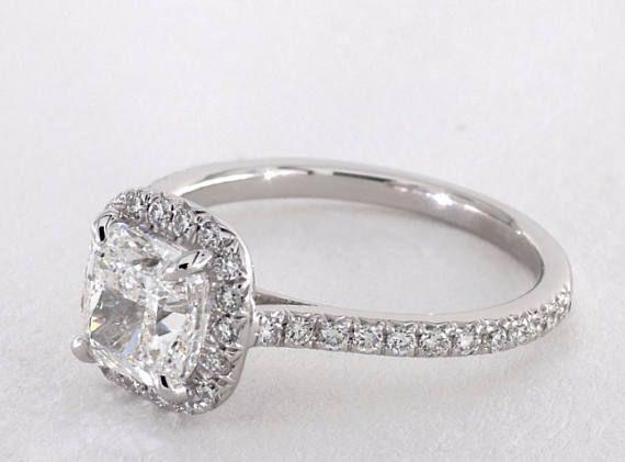 Amortiguador corte Halo diamante anillo en oro blanco de 14kt