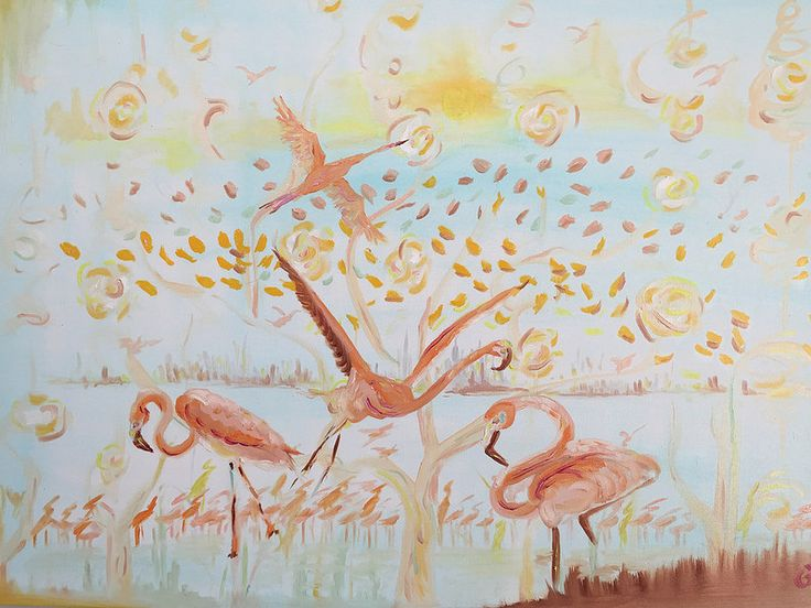 Flamingolar, 100x70, oil&canvas, #fineart #gallery #paintworks #original #landscapes #paintings #artwork #oilpaintings #fine #canvas #flamingos #oilandcanvas #oil #yağlıboya  #paintings  #sanat  #art  #artworks  #artist  #painting  #gurseltokmakoglu #fineart #gallery #paintworks #original #impressionism