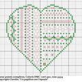Coeur points complices vert et rose