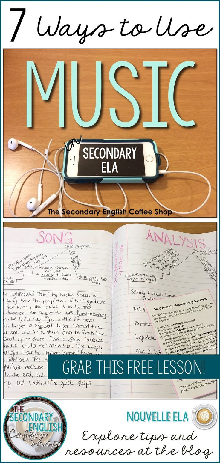 Using music in secondary ELA is a great way to increase student engagement and productivity. Check out the Secondary English Coffee Shop blog for some amazing ideas and a freebie to get you started! By Danielle at Nouvelle ELA.