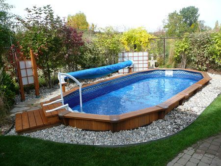 95 best above ground pool landscaping images on pinterest for Half in ground pool ideas