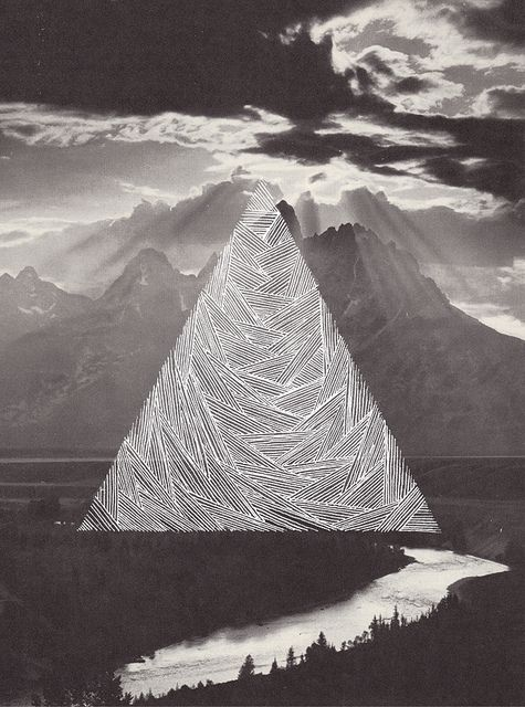 Etched triangle mountain. The mountain range, veiled  black and white photo
