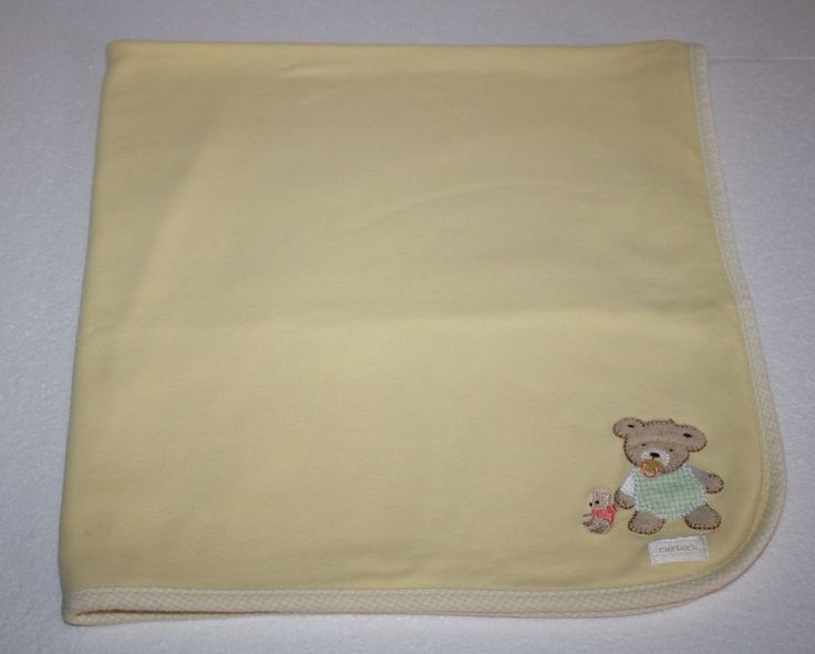 Carters Yellow Pacifier TEDDY BEAR Stripes Joy Is A Happy Smile Baby Blanket #Carters