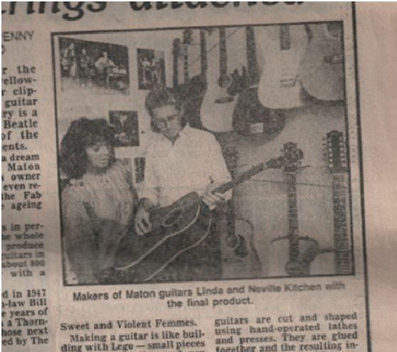 Maton Directors Linda and Neville Kitchen Featuring in the Herald in 1987