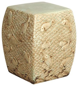 Antique Pale Ivory Blue Coastal Beach Asian Koi Fish Swimming Garden Stool Seat asian-ottomans-and-cubes