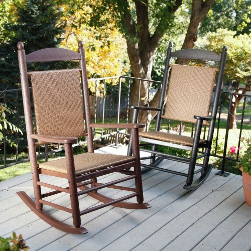 POLYWOOD® Recycled Plastic Jefferson Rocking Chair with Woven Seat and Back - Outdoor Rocking Chairs at Hayneedle