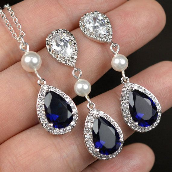 Navy blue,sapphire blue Wedding Jewelry Bridesmaid Gift Bridesmaid Jewelry Bridal Jewelry tear Earrings & necklace SET,bridesmaid gift   EARRINGS : - Total Length: 1.5 in - ear posts : sterling silver Cubic Zirconia,hypoallergenic , no allergy - Tear drop crystal (sapphire blue as show ) .You can choose other colors on the list - white pearl as show . I have all colors available for the pearl Earrings are also available with clip on ! NECKLACE : - 17 in chain , hypoallergenic ,no allergy ...