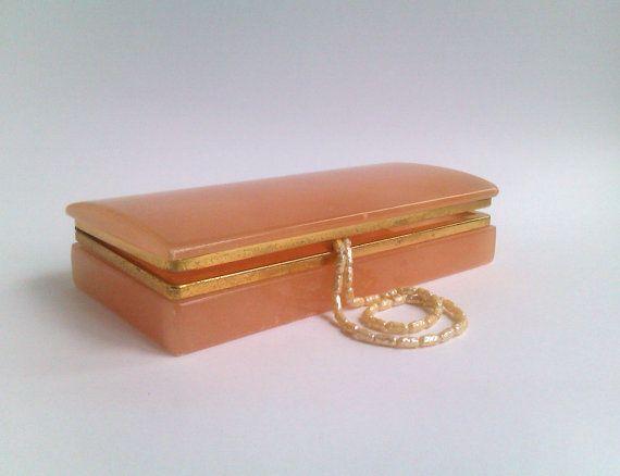 Vintage Stone Trinket Box Pink Alabaster Dresser Trinket Pink Alabaster Jewellery Box Hinged Italian Vanity Box Birthday Hostess Lady Gift