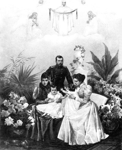 """imperial-Rusland: """""""" keizerlijke familie in 1897: Tsaar Nicolaas II met zijn moeder, vrouw en twee kleine dochters """""""""""