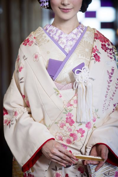 Beautiful Uchikake with a Traditional Sakura Blossom Design in Pink, Red, White and Lavender