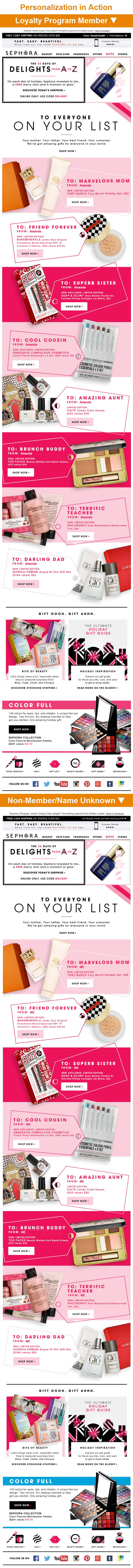 "Sephora >> sent 12/8/14 >> Amaze Them >> This Sephora email cleverly combines gift-recipient personas and first-name personalization by creating gift tags, which have the persona in the ""To"" line and my name in the ""From"" line. The tactic helps the subscriber envision themselves giving the gift. Plus, Sephora wisely uses ""Me"" as the fallback when they don't know the subscriber's name so it doesn't ruin the gift tag setup. —Amanda Miller, Senior Marketing Consultant, Salesforce Marketing…"