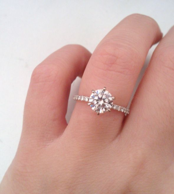 Round Solitaire With Skinny Pave Band One Day