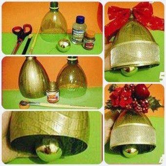 Campanas de botellas descartables paso a paso. Estas campanas navideñas se pueden colgar en las puertas, en las ventanas, en las barandas de las escaleras o en el pino de navidad y realmente lucen geniales.
