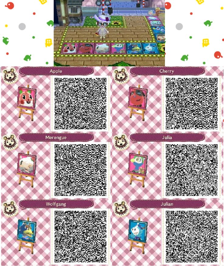 Acnl animal crossing new leaf qr codes villager portraits for Animal crossing mural