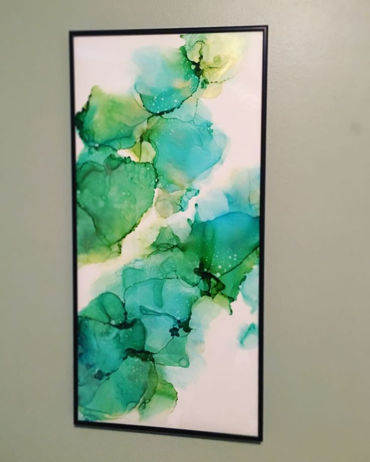 """I got """"Sea Flower"""" framed so that it can hang in any orientation, up to the buyer! See my previous post for a photo of it hung horizontally, and I'd love it if you comment on the photo/orientation you like more!  12x25 alcohol ink on yupo ••• #art #alcoholink #artwork #originalart #painting #fluidartwork #flow #madeincanada #copicink #artforsale #design #decor #instaart #artistsoninstagram #abstract #contemporaryart #yyc #calgary #yycartist #yycbusiness #yycliving #artdaily #abstractart…"""