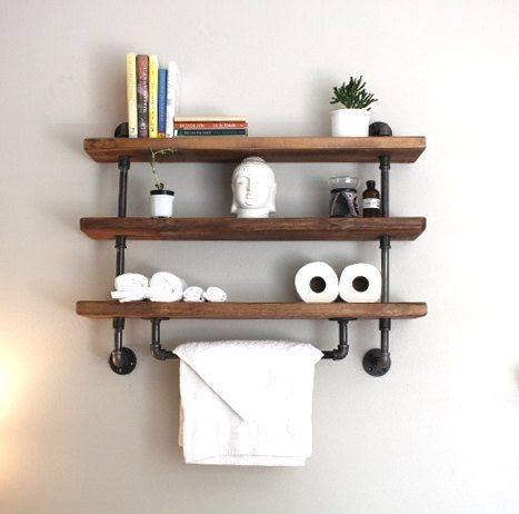 Industrial pipe shelf, Bathroom shelves, Kitchen shelves, Entryway shelf, Storage shelf, ReclaimedWoodUSA, bathroom shelf