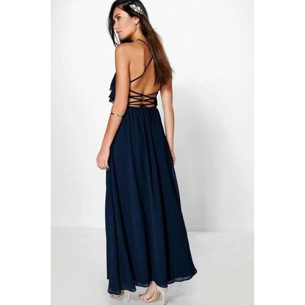 Boohoo Adelin Ruffle Strappy Maxi Dress ($44) ❤ liked on Polyvore featuring dresses, navy, night out dresses, navy blue maxi dress, maxi dress, white ruffle dress and party dresses
