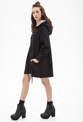 Faux Fur Longline Hoodie   FOREVER21 - 2055879774 second most
