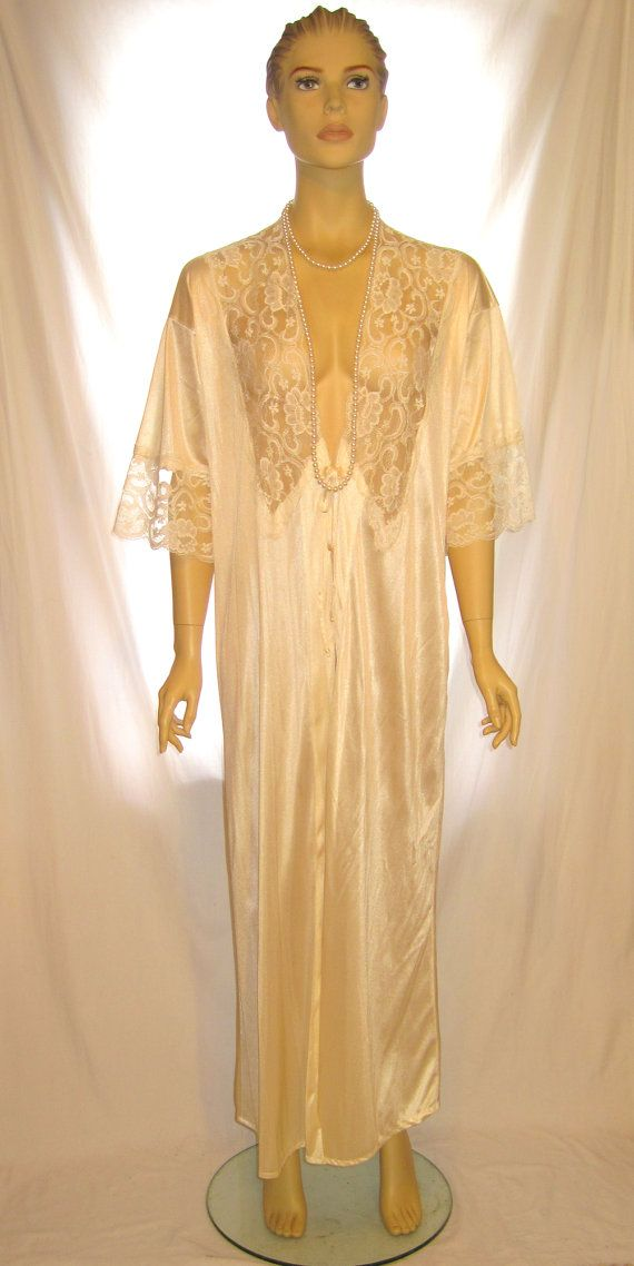 Vintage white lace lingerie robe nightie night gown, white lace open bust transparent ladies robe womens retro lingerie lace robe nightgown by 777DressCode, $44.99