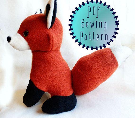 Red Fox plush pattern stuffed animal sewing PDF by PixiePlushies